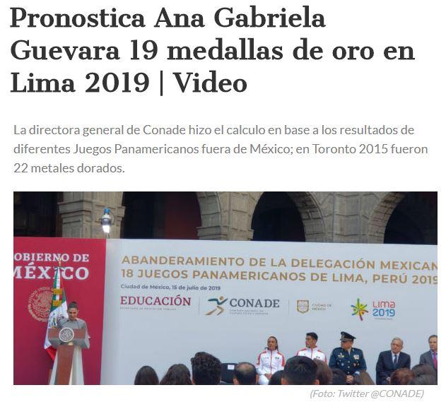 Ana Gabriela Guevara pronostico lima 2019